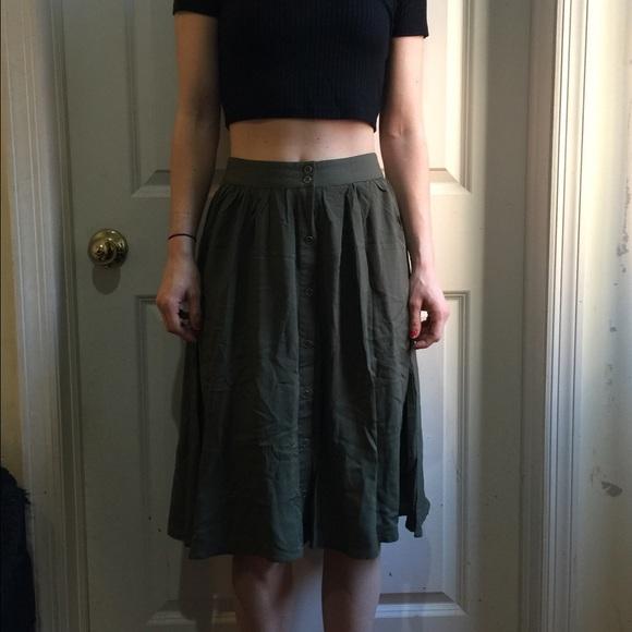 ec0969178 Forever 21 Skirts | Army Green Button Down Midi Skirt | Poshmark