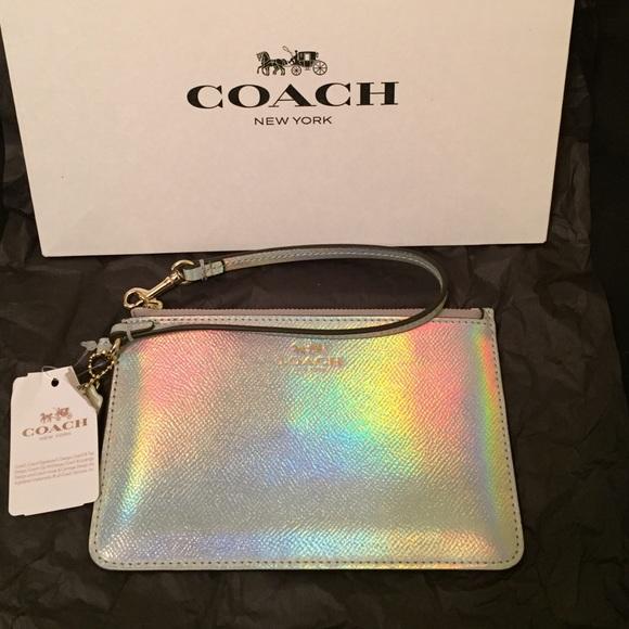 51eb5a3b5e71 SALE Gorgeous Coach hologram leather wristlet