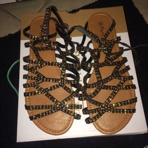 Shoes - Rhinestone Strappy Sandals Size 8 1/2