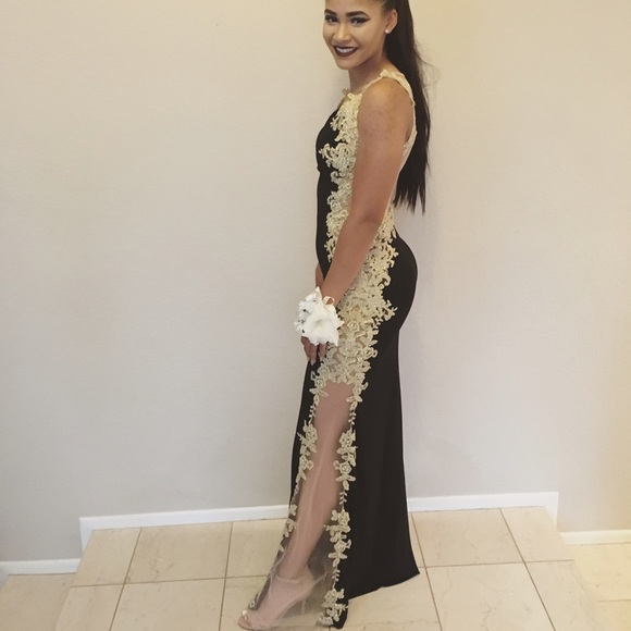 Jovani Dresses | Black And Gold Prom Dress Obo | Poshmark