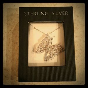 Jewelry - NIB Sterling Silver & CZ Butterfly Necklace!