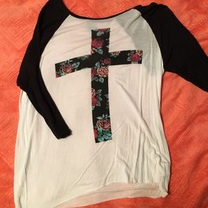 rose cross baseball tee