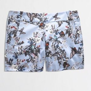 J. Crew botanical bird print shorts