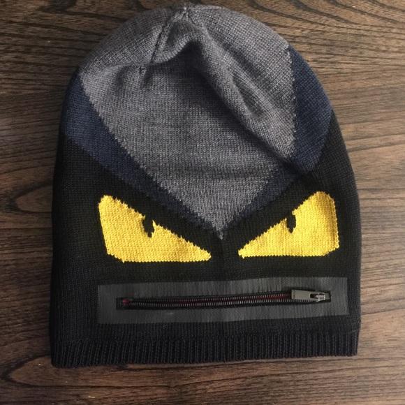 Fendi monster knit hat with zipper 9dd5b35cc28