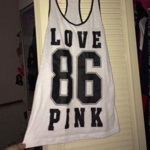 Victoria's Secret PINK white tank XS Love Pink 86