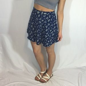 Forever 21 Navy Blue/White Floral Skater Skirt