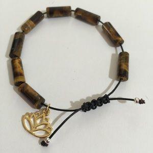 Tiger's Eye leather bracelet - healing stone
