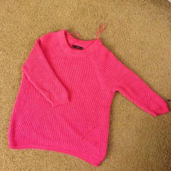 69e4a9d9ab7 Zara Sweaters - ZARA hot pink 3 4 sleeves sweater