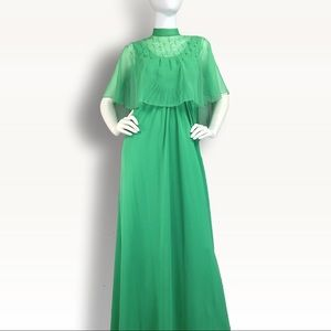 VINTAGE MAXI DRESS 70s Gown + Cape + BLING