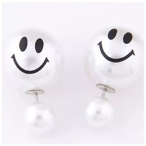 Boutique Jewelry - ED12 Double Sided White Smiley Face Earrings