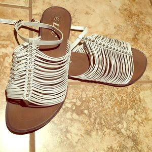 Brown and white strappy sandals 
