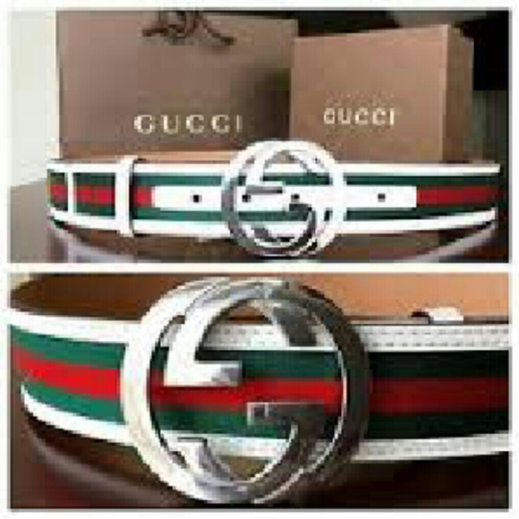 Gucci Belt White Red And Green