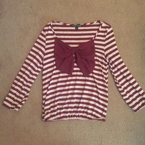 Maroon striped bow shirt