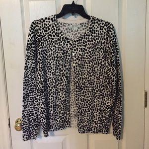 Black/white leopard print cardigan