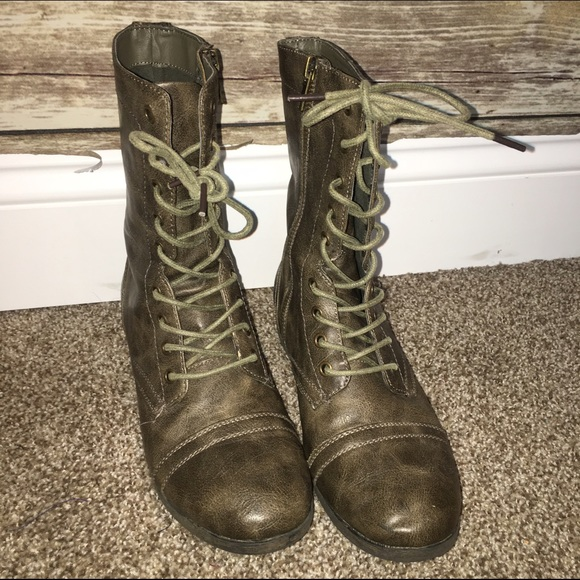 Charlotte Russe Shoes Olive Stone Colored Combat Boots