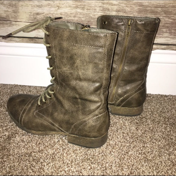 33% off Charlotte Russe Shoes - Olive Stone colored Combat boots ...