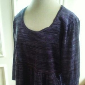 Empire waist knit top purple & silver 3/4 sleeve