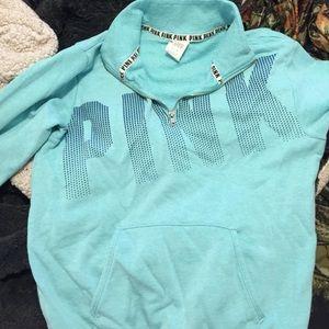 Teal blue half zip PINK sweatshirt