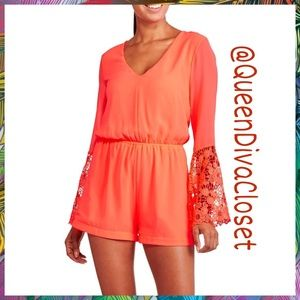 Pants - Neon orange coral lace bell sleeve short romper L
