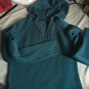 Sweaters - Teal hooded sweater