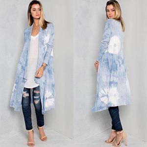 Sunburst Tie Dye Print Cardigan- BLUE