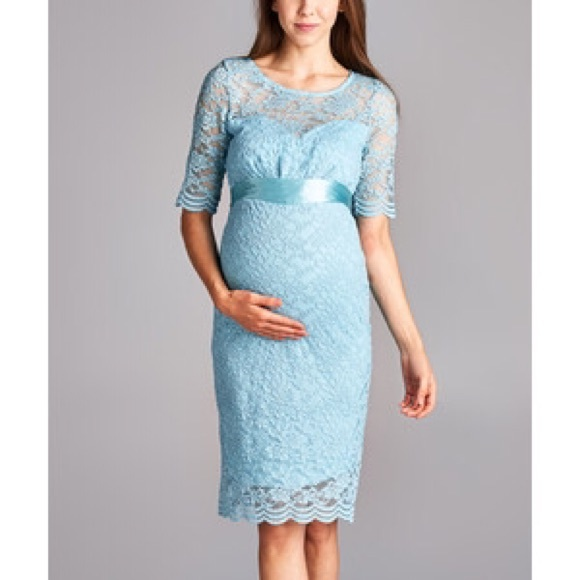 8fe7f3da4ef Hello Miz Aqua Lace Maternity Dress