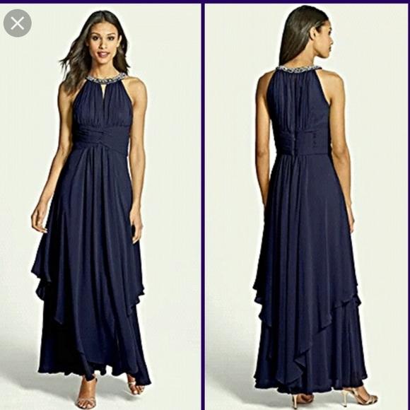 Eliza J Dresses | Embellished Tiered Chiffon Halter Gown | Poshmark