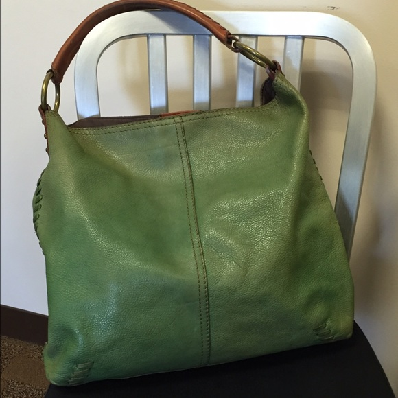 68% off Lucky Brand Handbags - Lucky Brand Green Leather Hobo ...