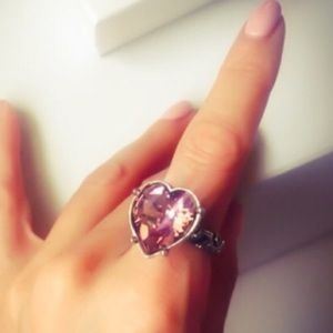 Alchemy Jewelry - One Love Iced Pink Swarovski Heart Ring 6.25