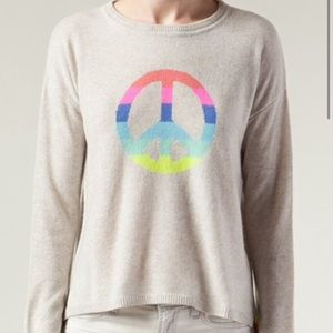 Autumn cashmere gray rainbow peace sweater