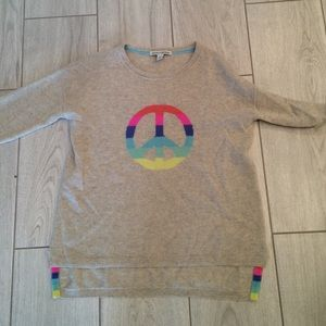 Autumn cashmere Sweaters - Autumn cashmere gray rainbow peace sweater