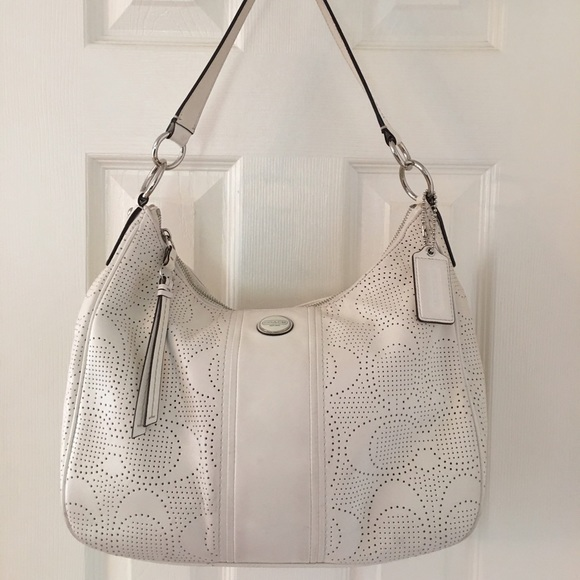 Coach Handbags - 🛍 Coach F23241 White Perforated Leather Hobo Bag 83ddd293aea71