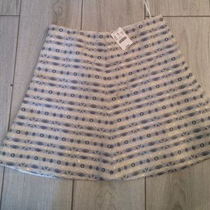 NWT adorable J Crew blue and silver flare skirt