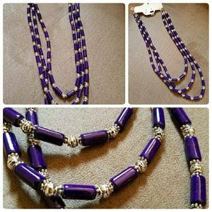 Beautiful Triple Strand Purple Howlite Necklace