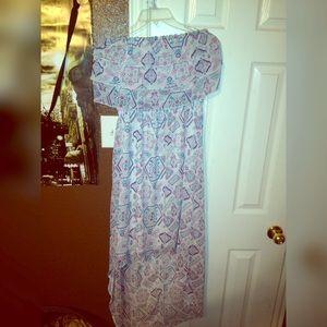 White Aztec Design Dress