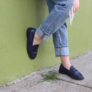 COLE HAAN Navy patent penny loafers