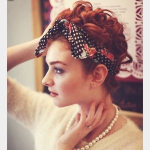 Accessories - Floral Polka Dot Head Scarf