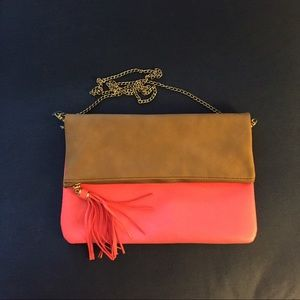 H&M Hot Pink + Tan Purse