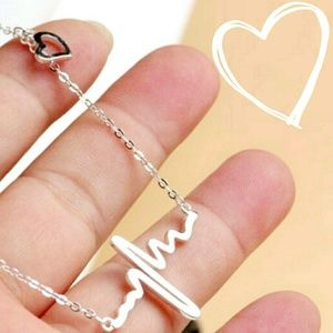 Silver ECG Heartbeat Necklace