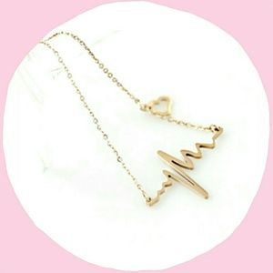 Gold ECG Heartbeat Necklace