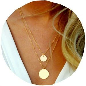 Gold Double Layer Disk Necklace