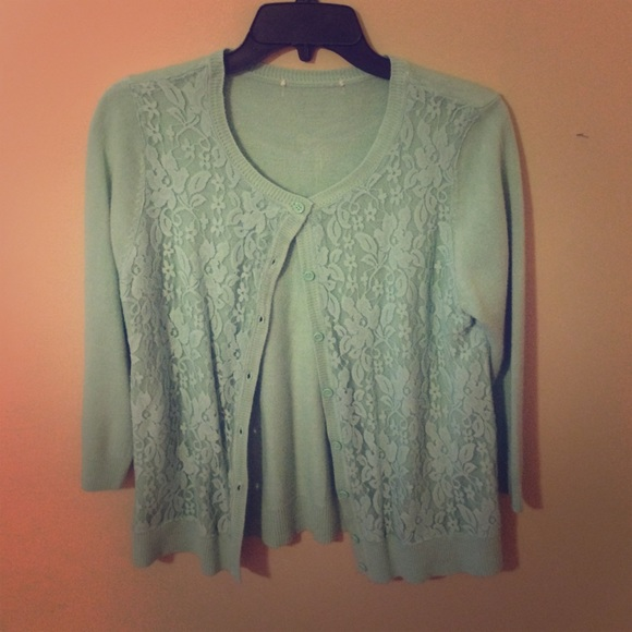 78% off ModCloth Sweaters - Mint green lace cardigan from ...