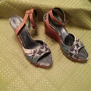 """Authentic Coach Platform Wedge 4"""" Shoes 8B"""