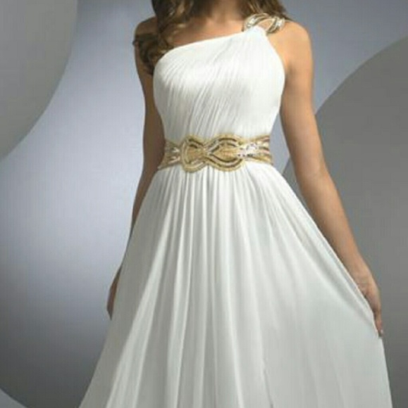 Dresses | White And Gold Goddess Prom Dress | Poshmark