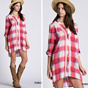 •plaid tunic dress•