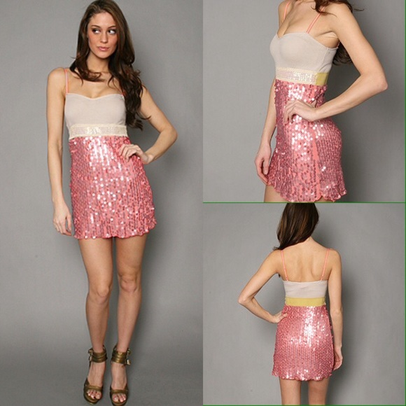 22 Off Free People Dresses Amp Skirts Fp Steph S Sparkle Sequin Dress Champagne Sherbert From