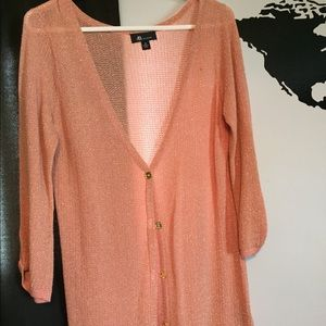 Sweaters - Sparkly Coral/Gold Cardigan