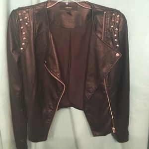 Faux black leather jacket with studs