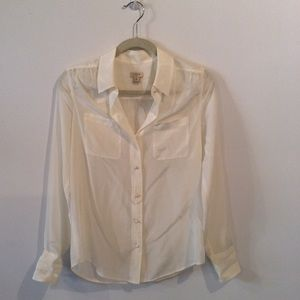 J. Crew Factory silk two-pocket blouse
