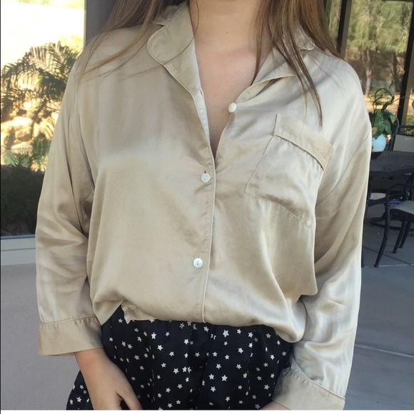 Brandy Melville - Gold / champagne 100% silk button down shirt ...